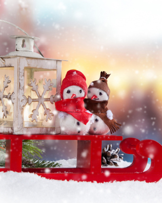Snowman Christmas Figurines Decoration - Obrázkek zdarma pro iPhone 6 Plus