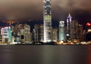 Hong Kong At Night Background for Android, iPhone and iPad