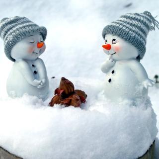 Cute Snowman Christmas Decoration Figurine - Obrázkek zdarma pro 128x128