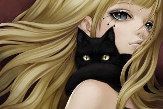 Blonde With Black Cat Drawing - Fondos de pantalla gratis para Motorola RAZR XT910