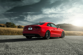 Audi S5 Red Vorsteiner 2015 Background for Android, iPhone and iPad