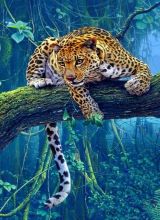 Jungle Tiger Painting - Obrázkek zdarma pro Nokia Asha 309