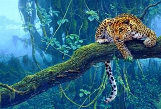 Jungle Tiger Painting - Obrázkek zdarma pro Nokia Asha 205