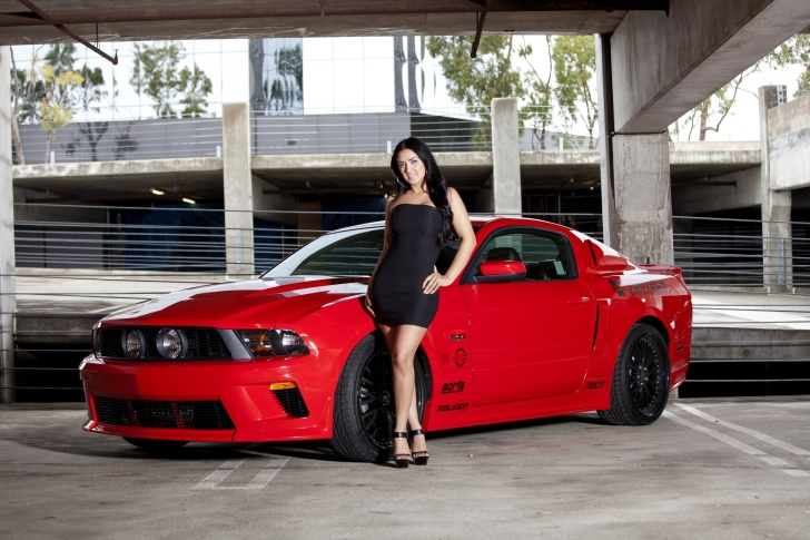 Ford Mustang GT Vortech with Brunette Girl wallpaper