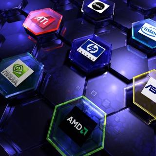 Hi-Tech Logos: AMD, HP, Ati, Nvidia, Asus - Obrázkek zdarma pro 2048x2048