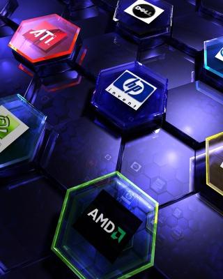 Hi-Tech Logos: AMD, HP, Ati, Nvidia, Asus - Obrázkek zdarma pro Nokia Asha 305