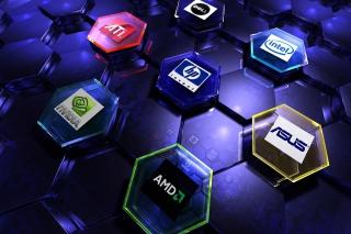 Hi-Tech Logos: AMD, HP, Ati, Nvidia, Asus - Obrázkek zdarma pro Sony Xperia Z3 Compact