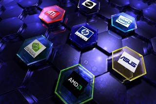 Hi-Tech Logos: AMD, HP, Ati, Nvidia, Asus - Obrázkek zdarma pro Widescreen Desktop PC 1680x1050