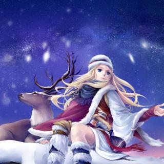 Anime Girl with Deer - Obrázkek zdarma pro iPad Air