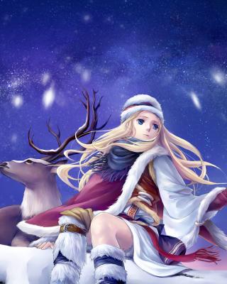 Anime Girl with Deer - Obrázkek zdarma pro 360x640