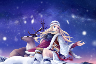 Anime Girl with Deer Picture for Android, iPhone and iPad