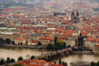 Prague, Czech Republic, Vltava River Background for Android, iPhone and iPad
