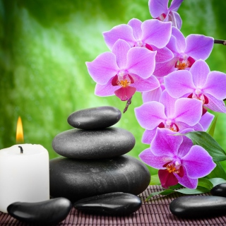 Pebbles, candles and orchids - Obrázkek zdarma pro iPad 2