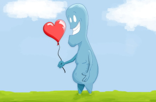 Blue Monster In Love Wallpaper for Android, iPhone and iPad