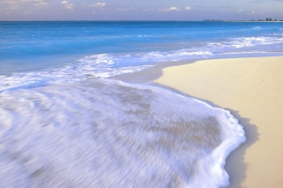 Free White Beach And Blue Water Picture for Android, iPhone and iPad