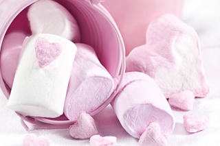 Pink Strawberry Marshmallows Background for Android, iPhone and iPad