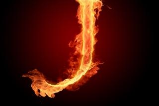 Fire Letter J - Obrázkek zdarma pro 480x320
