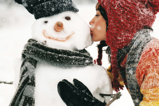 Girl Kissing The Snowman Wallpaper for Android, iPhone and iPad