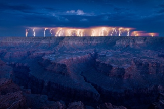 Grand Canyon Lightning Background for Android, iPhone and iPad