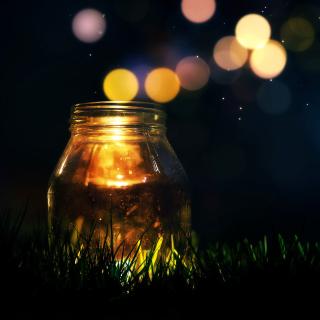 Glass jar in night - Obrázkek zdarma pro 320x320