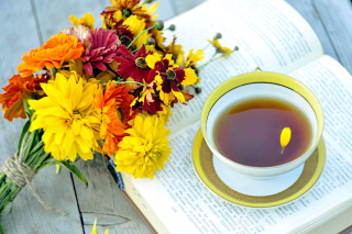 Tea and Book Wallpaper for Android, iPhone and iPad