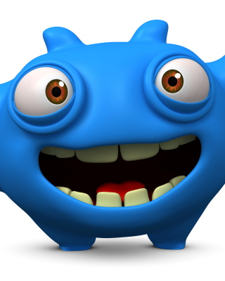 Cute Blue Cartoon Monster - Obrázkek zdarma pro iPhone 4