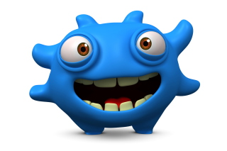 Cute Blue Cartoon Monster - Obrázkek zdarma pro Widescreen Desktop PC 1600x900