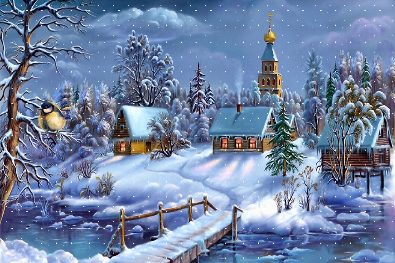 Зимние пейзажи новый год картинки 2