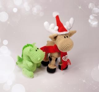 Christmas Dino And Reindeer - Obrázkek zdarma pro 1024x1024
