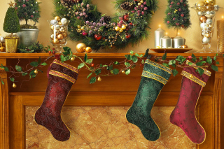 Christmas stocking on fireplace - Obrázkek zdarma pro Samsung Google Nexus S 4G