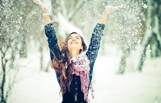 Winter, Snow And Happy Girl Background for Android, iPhone and iPad