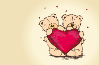 Valentine's Teddy Bears Background for Android, iPhone and iPad