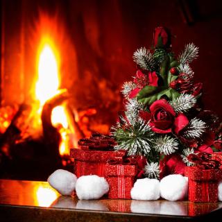 Christmas near Fireplace - Obrázkek zdarma pro 208x208