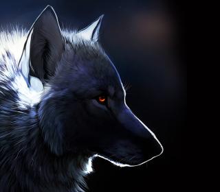 Wolf With Amber Eyes Painting - Obrázkek zdarma pro iPad