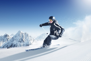 Free Skiing In Snowy Mountains Picture for Android, iPhone and iPad