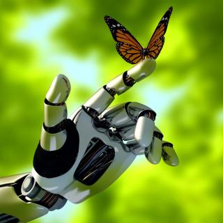 Robot hand and butterfly - Obrázkek zdarma pro 320x320