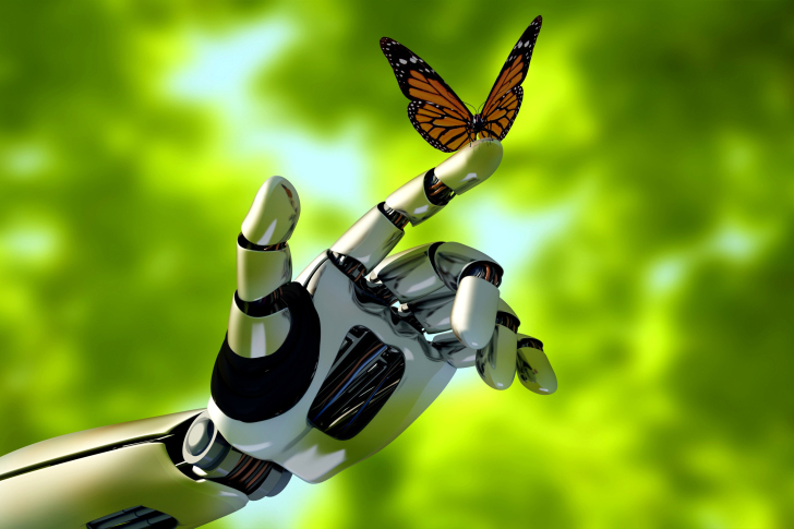 Robot Hand And Butterfly Wallpaper For Android Iphone And