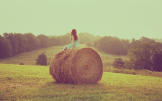 Girl In Field Background for Android, iPhone and iPad