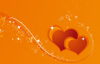 Orange Hearts Wallpaper for Android, iPhone and iPad