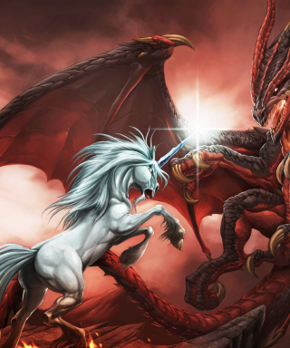 Unicorn And Dragon - Obrázkek zdarma pro 480x640