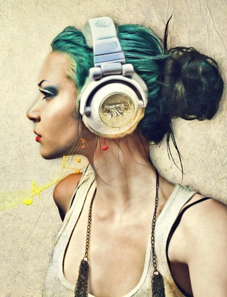Girl With Headphones Artistic Portrait Background for 480x854