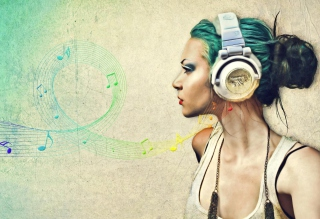 Girl With Headphones Artistic Portrait - Obrázkek zdarma pro Widescreen Desktop PC 1920x1080 Full HD