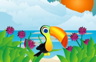 Toucan On Beach Picture for Android, iPhone and iPad