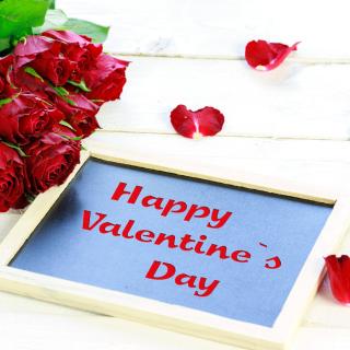 Happy Valentines Day with Roses - Obrázkek zdarma pro 208x208