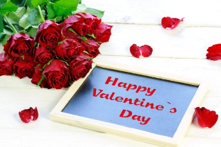 Happy Valentines Day with Roses Wallpaper for Android, iPhone and iPad