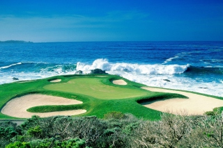 Golf Field By Sea Background for Android, iPhone and iPad