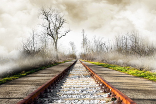 Autumn Railway Background for Android, iPhone and iPad