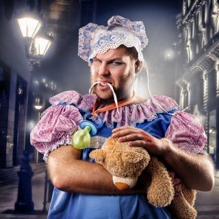 Cook with teddy bear - Obrázkek zdarma pro 1024x1024