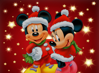 Mickey And Mini Mouse Christmas Time - Obrázkek zdarma pro Samsung Galaxy Tab 10.1