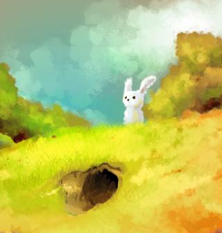 Cute White Bunny Painting - Obrázkek zdarma pro iPad mini 2